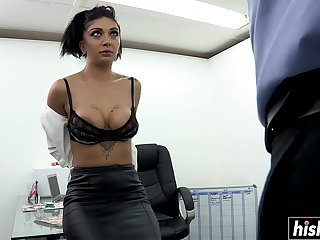 brutal office copulation with hot brunette