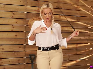 Jaw dropping busty goddess with whip Lucy Zara wants on every side punish bad dear boy