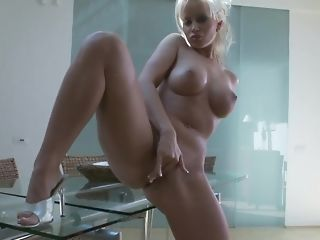 Huge-boobed blond nourisher plays with her dearest fuck-a-thon plaything porn video