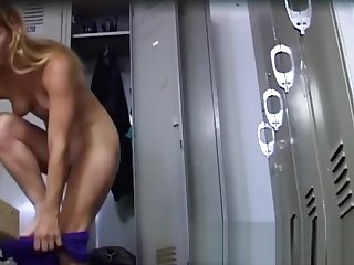 Hot blonde changing in locker room