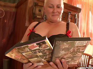 obese mature Maria A. spreads her fingertips for fingering and hard mating