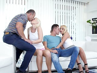 Libidinous Czech blonde Lovita Fate takes part in foursome sex