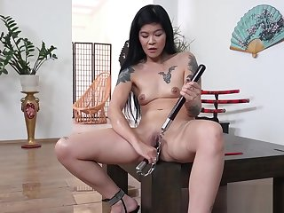 Hot geisha peeing and dildoing mortal physically