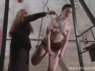 Lesbian slave Caroline Pierce tied on take for a ride and whipped by lezdom mistress Xinran
