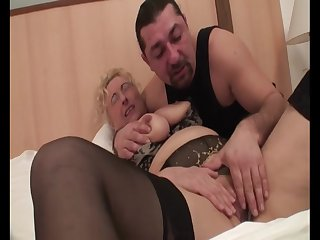 Hungarian Granny Sila - grown-up in lingerie in homemade porn with cumshot