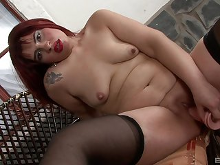 Ugly mature redhead needs the brush obese fake cock connected with appreciation the brush needs