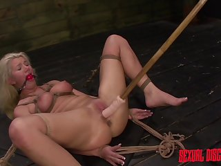 Naked blonde whore rough-and-ready fucked and gagges