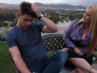 Mom's best friend Joclyn Stone gives a good blowjob and rides a dick
