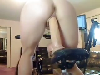 Awesome cam hoe with racy booty rides say no to suction dildo overhead top