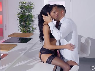 Wed dresses up in sexy lingerie and stockings to try passionate intercourse