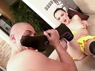 Brunette model Alina on her knees making him hard for fucking