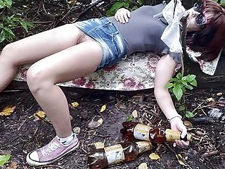 Fucked drunk Russian teen surrounding the forest