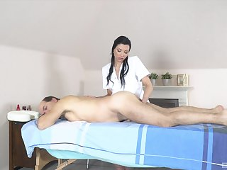 Old man receives massage and making love from horny masseuse