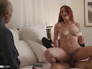 Redhead wife Lacy Lennon fucked by her lover in the morning