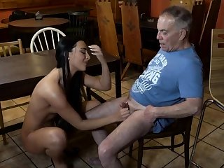 Old young slave with the addition of mistress feet first time Prat you
