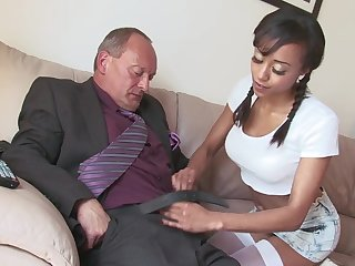 Fake special Alyssa Divine fro pigtails fucked by a white dick