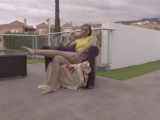 Solo outdoor calumniation video of adorable model Alessia Romei