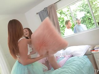 Girls pillow fight attracts neighbors and it turns into a steamy foursome