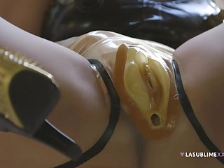 Dirty solo model Valentina Nappi wears latex and masturbates
