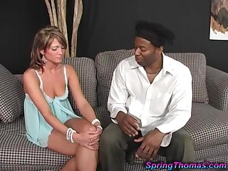Nasty white chick Machine screw Thomas goes wild on a humongous black shaft