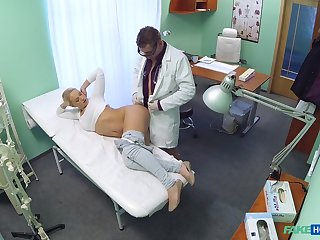 Doctor examines his hot blonde patient Lilith with his prick