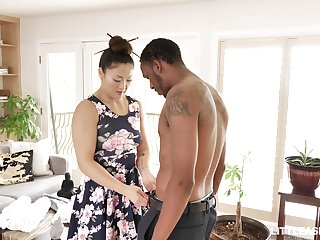 Kinky Asian masseuse Nyomi Star gives dusky shine sebaceous footjob