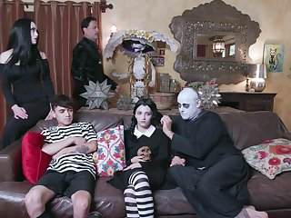 Materfamilias and lady in crazy Adams Family role play