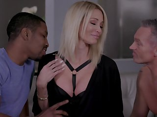 Insatiable blonde Jessica Drake gets confirm with two lovers on a former occasion