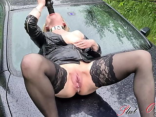 Slattern Orgasma-Celeste outdoor orgasm on her car in the squirt