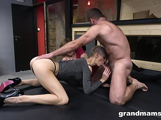 Two matured but still awesome whores love when their shaved cunts are banged