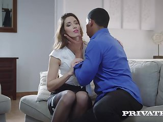 Seductive babe in black stockings, Clea Gaultier spread her legs wide open for a handsome, black guy