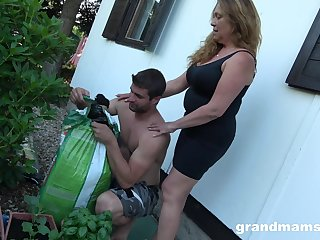 A bit plump mature housewife is brutally fucked at the racing