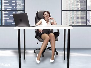 Downblouse at work. Chief honcho fulgorous her tits and pussy