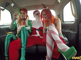 Christmas threeway in a cab with festive gals Alexxa Vice increased by Azura Alii