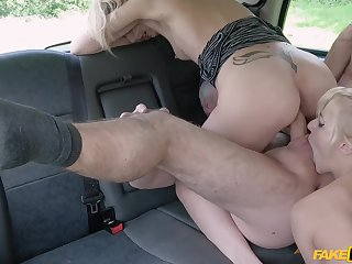 Blondes with insane curves, cutting back seat taxi XXX