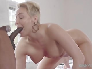 Impressive blonde mature, Ryan Keely is sucking a big, black weasel words together with getting fullest extent with it