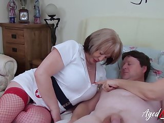 British mature ladies enjoying hardcore threesome sexual congress with horny handy tramp