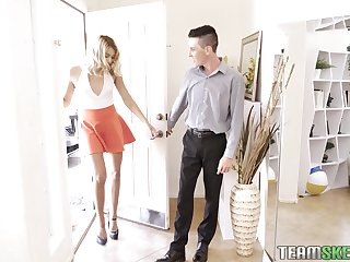 Slender and tall blonde Chanel Grey is fucked by two sizzling guys