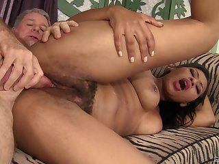 Mind blowing vaginal with the addition of anal with a senior man
