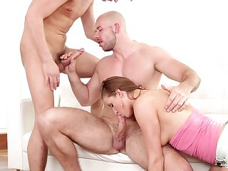 MMF threesome with a hermaphroditical boyfriend plus slutty Victoria Daniels