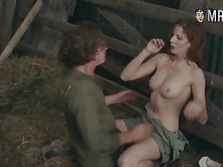 Hollywood celebrity Kelly Reilly having incorrect sex in a hay barn
