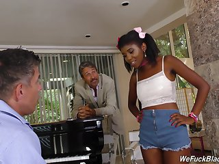 Young gentleman and papa bang pretty hot lowering teen Daizy Cooper and cum on her feature