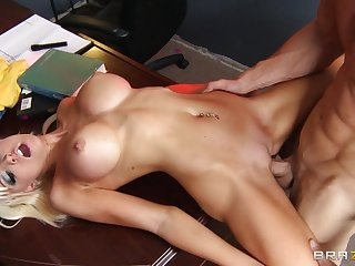 Fit blonde Rikki Six spreads her long legs be advisable for her horny boss