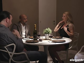 Two married couples are having inane sex distraction after dinner