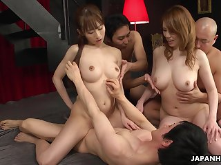 Two professional Asian sluts fuck cherry boy and then enjoy the orgy