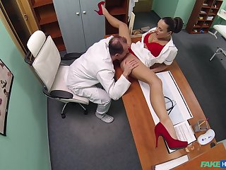 Mea Melone and an older doctor fuck in the examination field