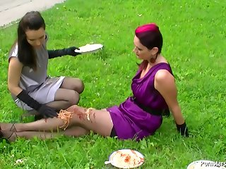 Kinky girls food fetish fun outdoor
