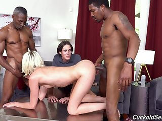 Two black guys be crazy Zoe Sparx accelerate say no to nerd cuckold tighten one's belt