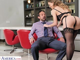 Satiated MILF in black tights Cherie Deville enjoys riding sloppy cock