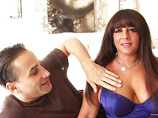 Thick sunless MILF with huge tits takes his dick gaping void